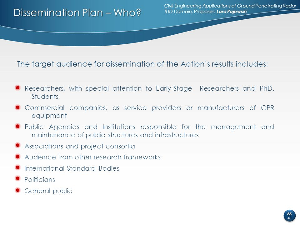 Dissemination Plan – Who