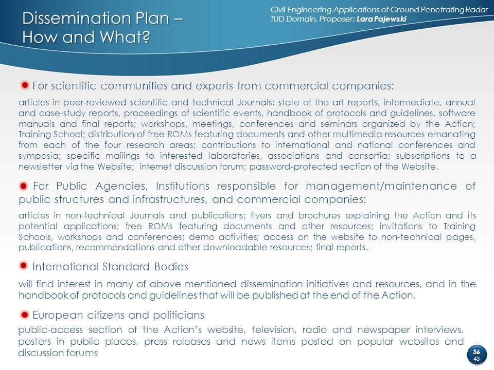 Dissemination Plan – How and What