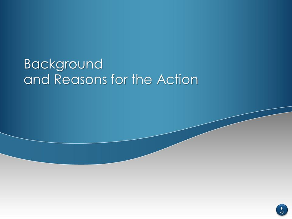 Background and Reasons for the Action