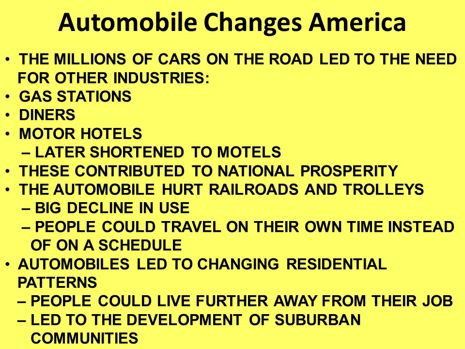 Automobile Changes America