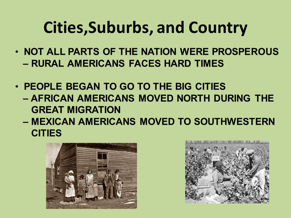 Cities,Suburbs, and Country