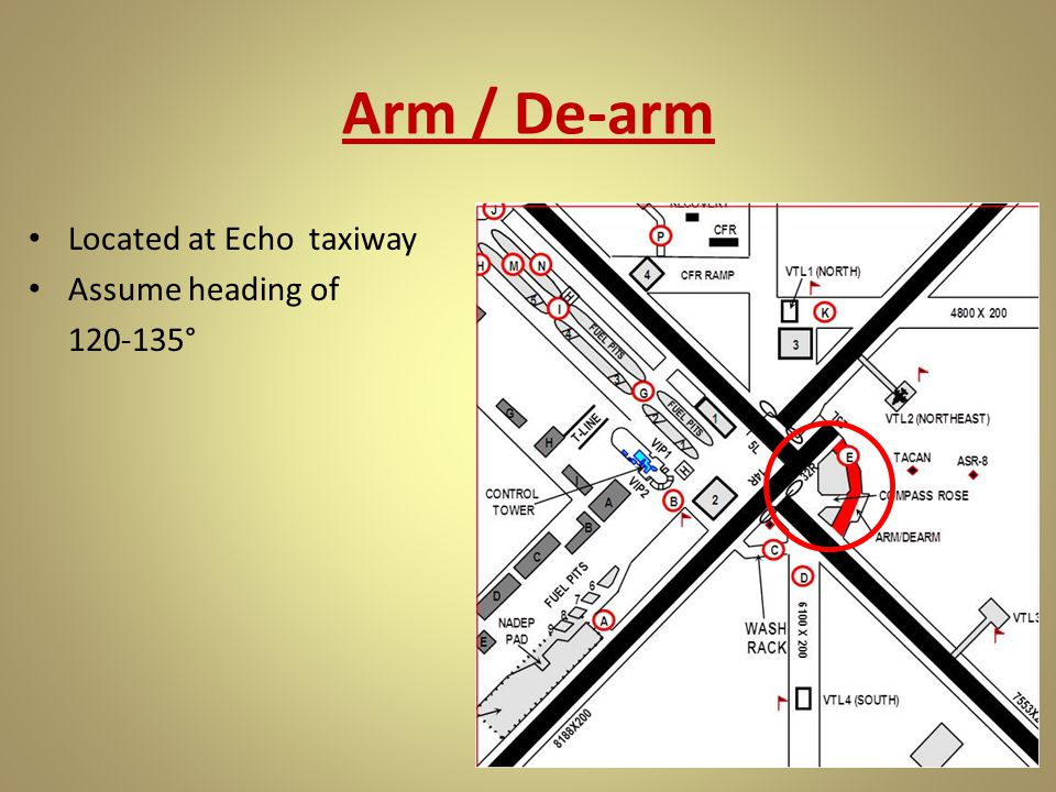 Arm / De-arm Located at Echo taxiway Assume heading of 120-135°