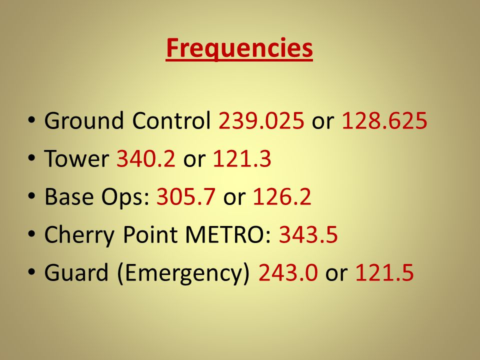 Frequencies Ground Control 239.025 or 128.625 Tower 340.2 or 121.3