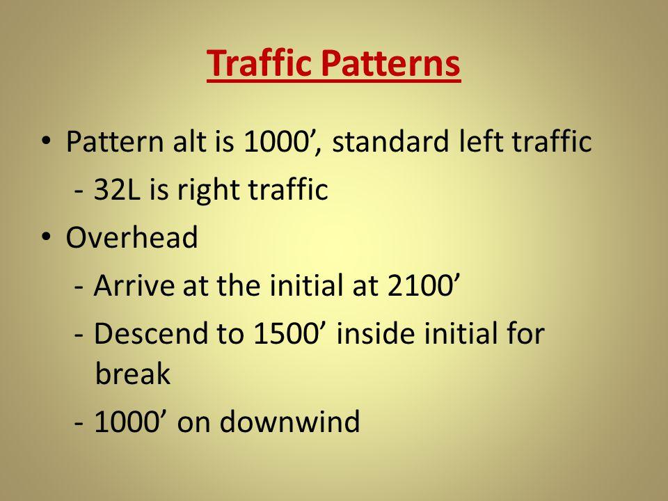 Traffic Patterns Pattern alt is 1000', standard left traffic