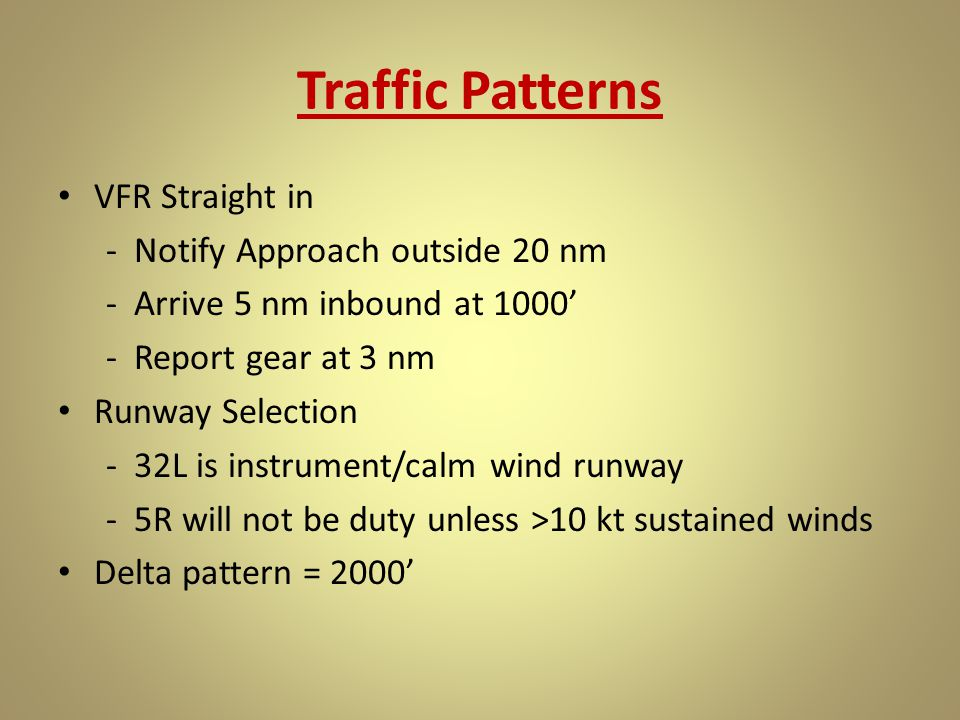 Traffic Patterns VFR Straight in - Notify Approach outside 20 nm