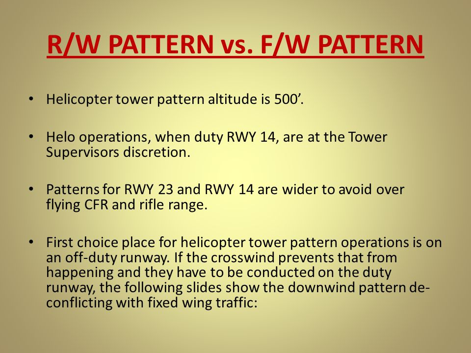 R/W PATTERN vs. F/W PATTERN