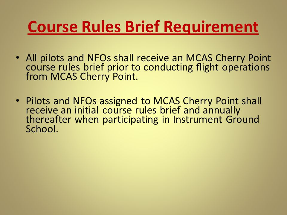Course Rules Brief Requirement