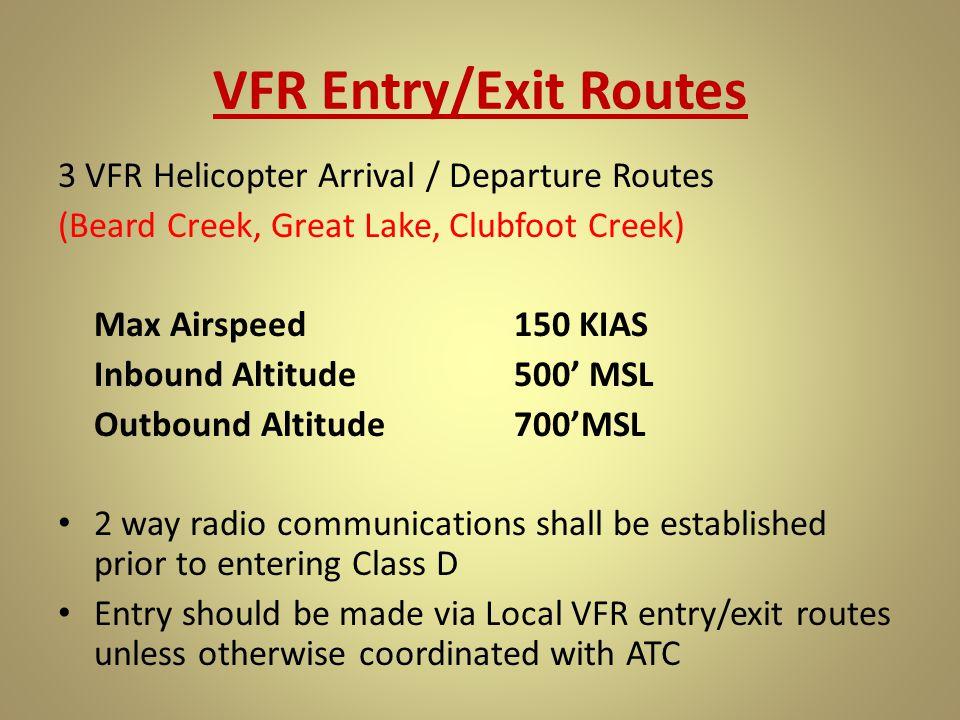 VFR Entry/Exit Routes 3 VFR Helicopter Arrival / Departure Routes