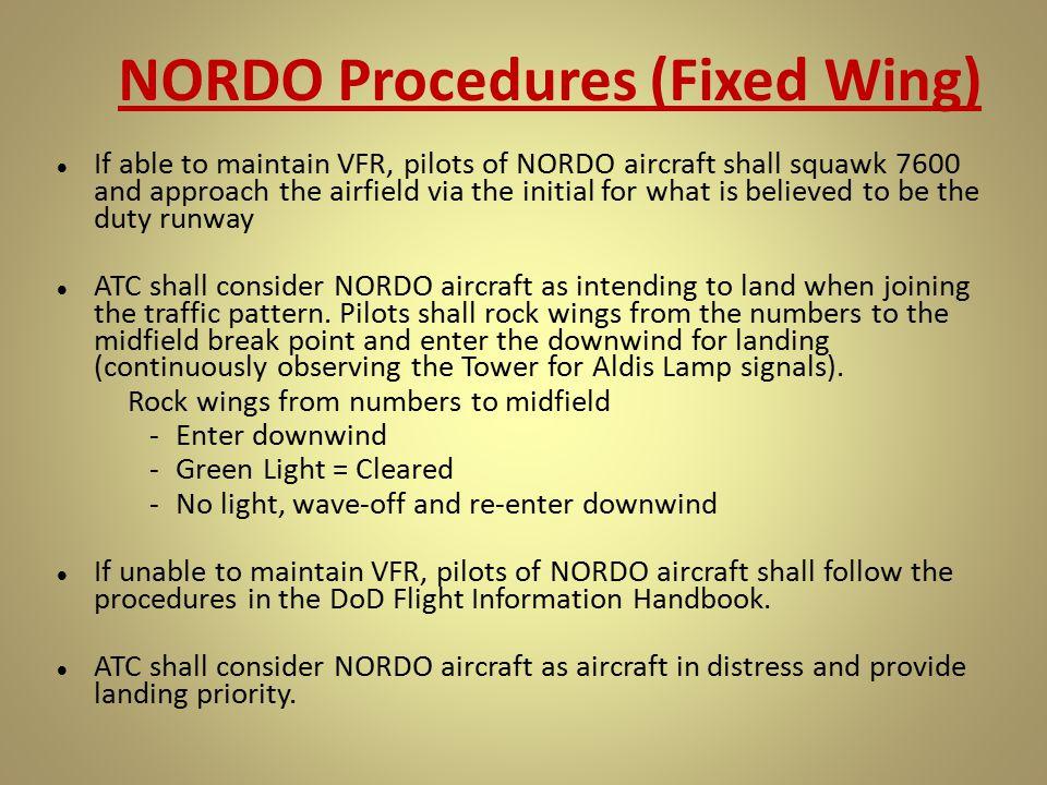 NORDO Procedures (Fixed Wing)