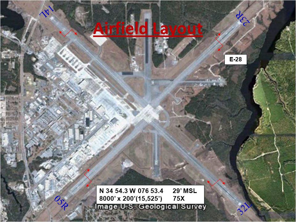 14L Airfield Layout. 23R. E-28. N 34 54.3 W 076 53.4 29' MSL 8000' x 200'(15,525') 75X.