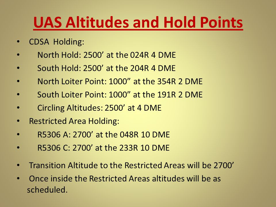 UAS Altitudes and Hold Points
