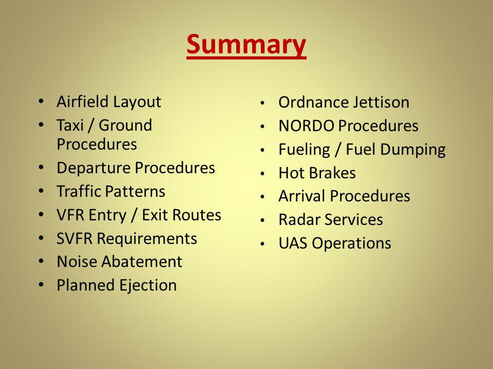 Summary Airfield Layout Ordnance Jettison Taxi / Ground Procedures