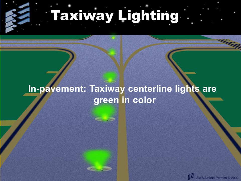 In-pavement: Taxiway centerline lights are green in color