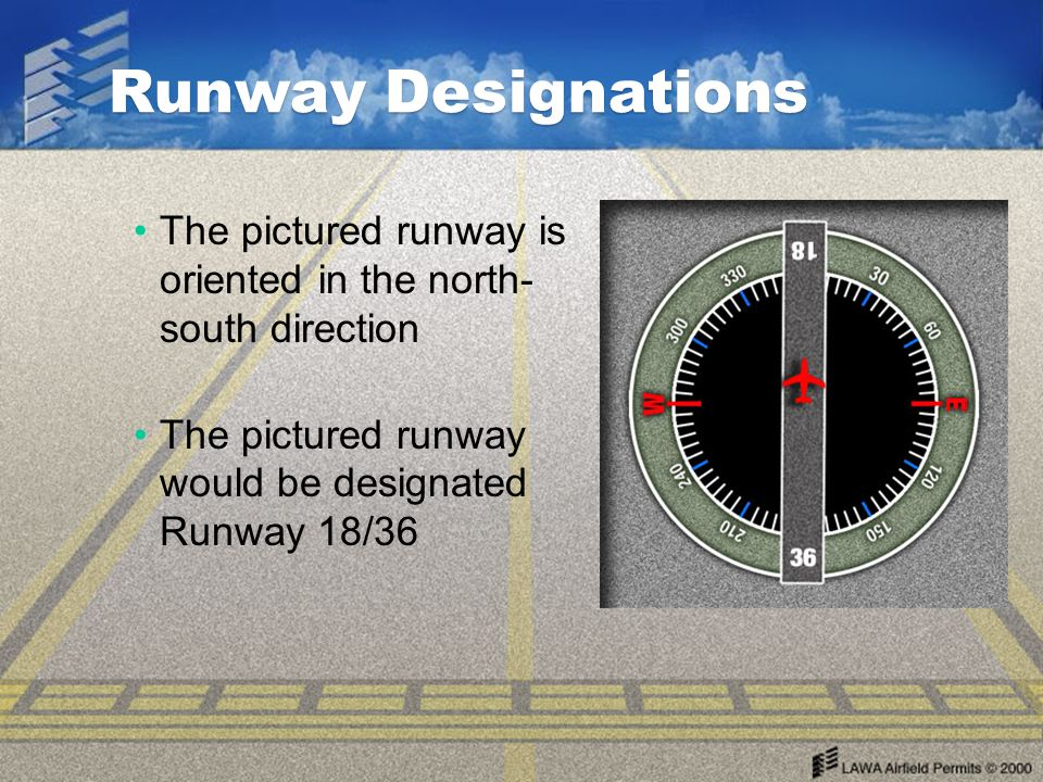 Runway Designations The pictured runway is oriented in the north- south direction.