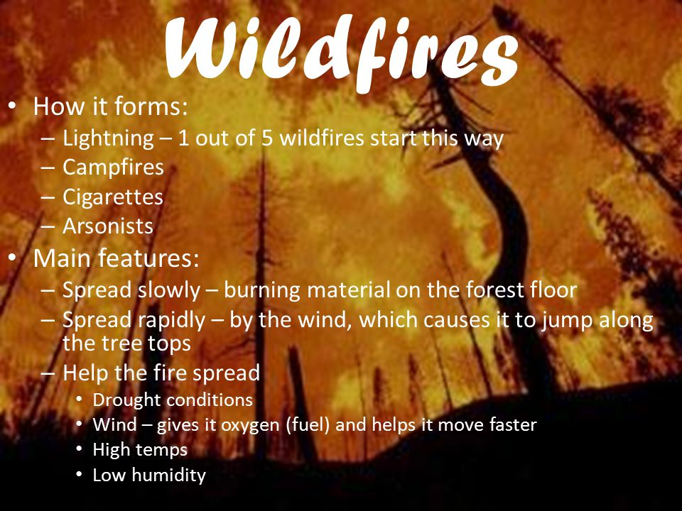 Wildfires How it forms: Main features: