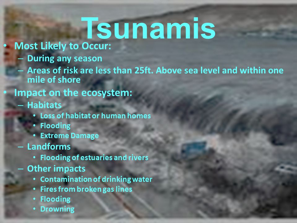 Tsunamis Most Likely to Occur: Impact on the ecosystem: