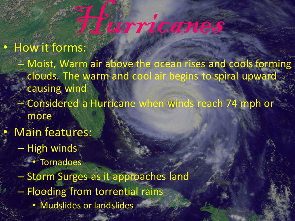 Hurricanes How it forms: Main features: