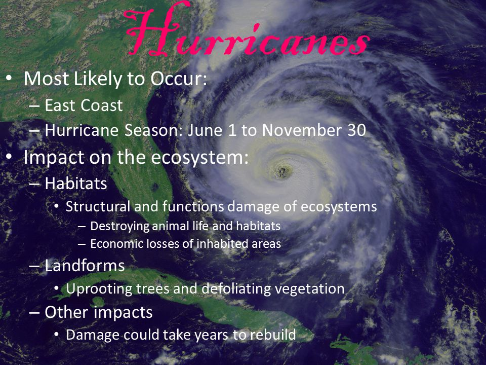 Hurricanes Most Likely to Occur: Impact on the ecosystem: East Coast