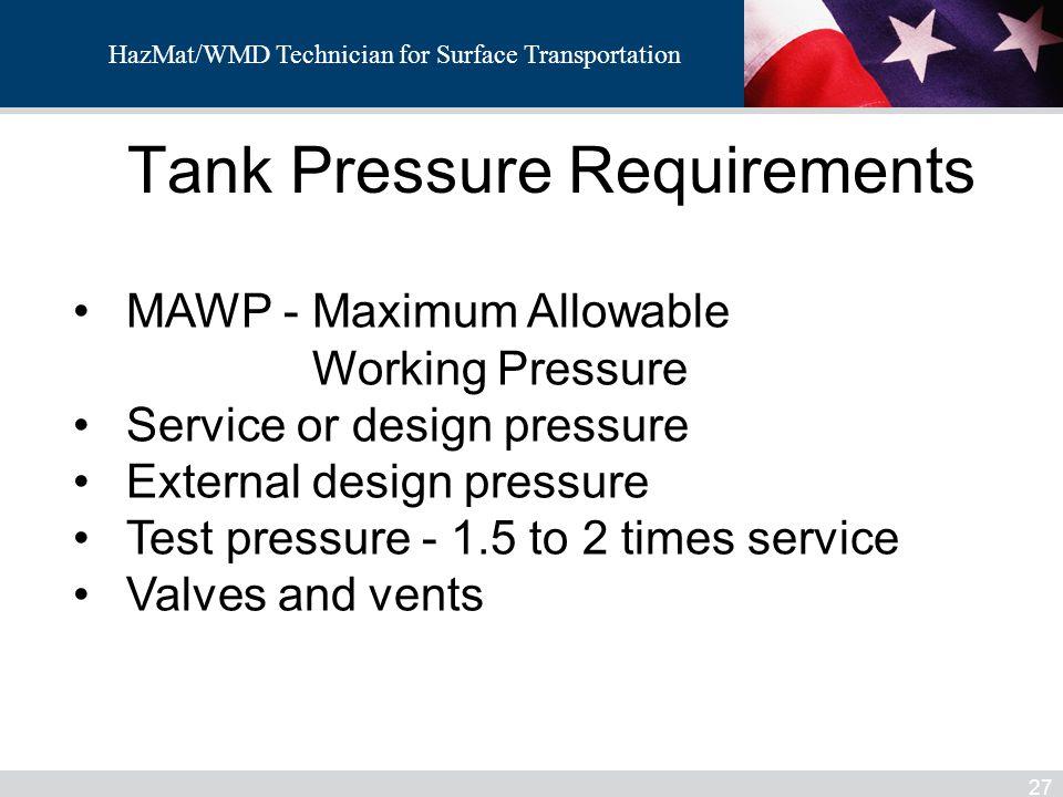 Tank Pressure Requirements