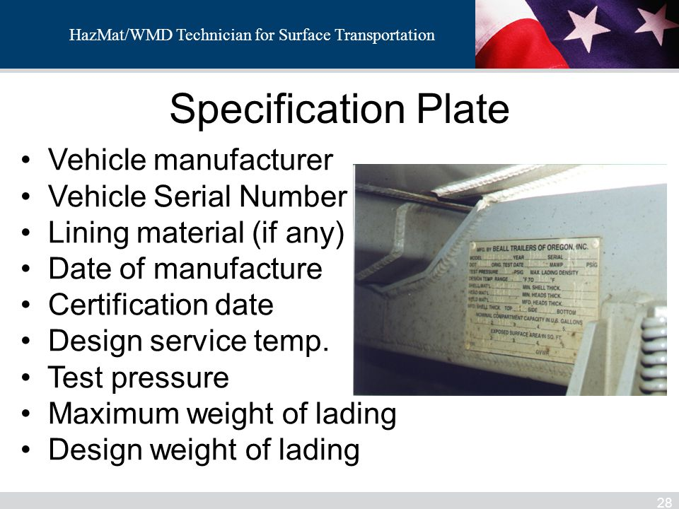 Specification Plate Vehicle manufacturer Vehicle Serial Number