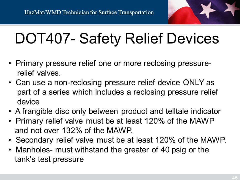 DOT407- Safety Relief Devices