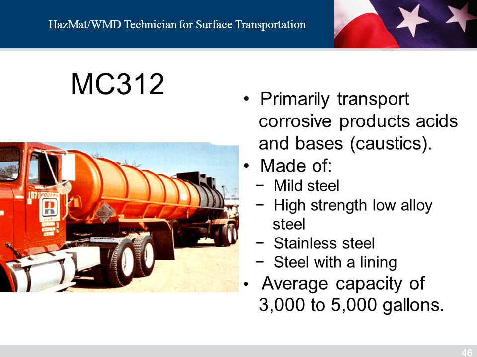 MC312 Primarily transport corrosive products acids