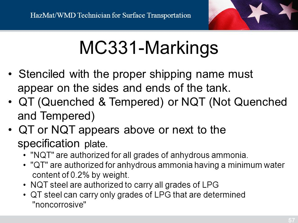 MC331-Markings Stenciled with the proper shipping name must