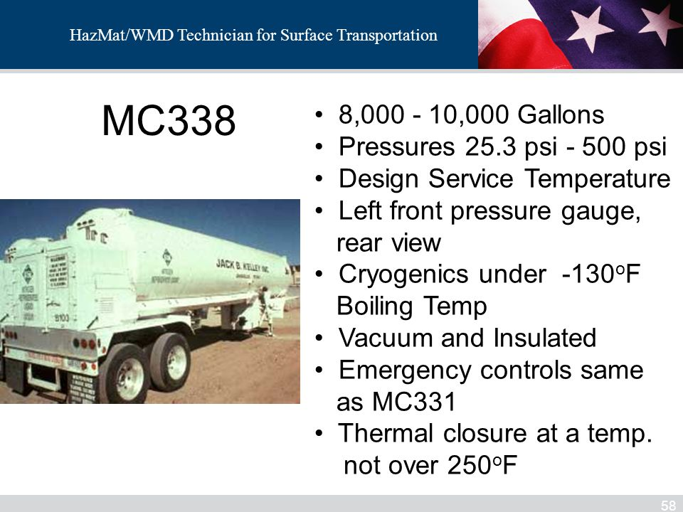MC338 8,000 - 10,000 Gallons Pressures 25.3 psi - 500 psi