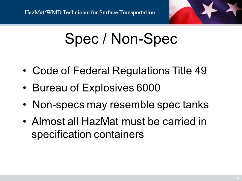 Spec / Non-Spec Code of Federal Regulations Title 49