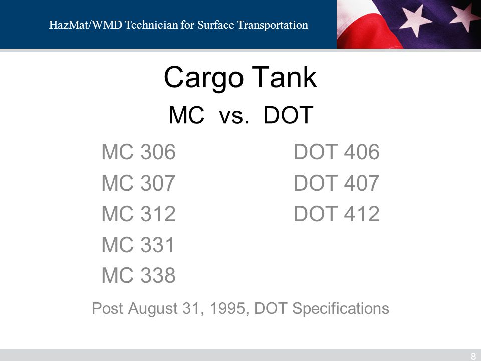 Post August 31, 1995, DOT Specifications
