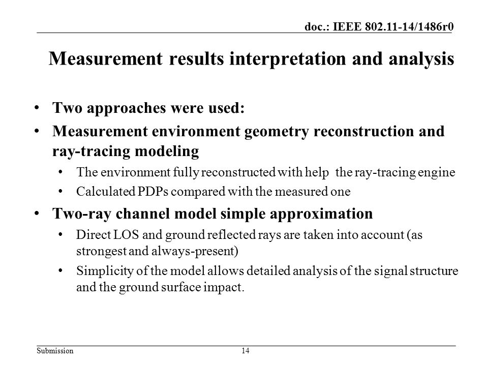Measurement results interpretation and analysis