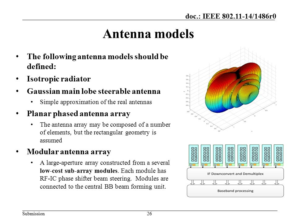 Antenna models The following antenna models should be defined: