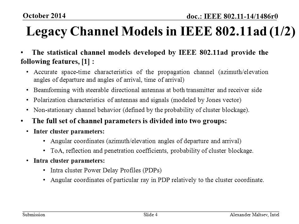 Legacy Channel Models in IEEE 802.11ad (1/2)