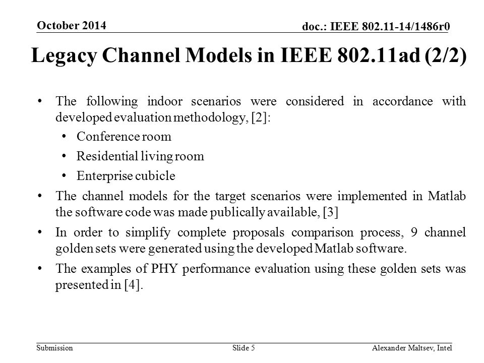 Legacy Channel Models in IEEE 802.11ad (2/2)