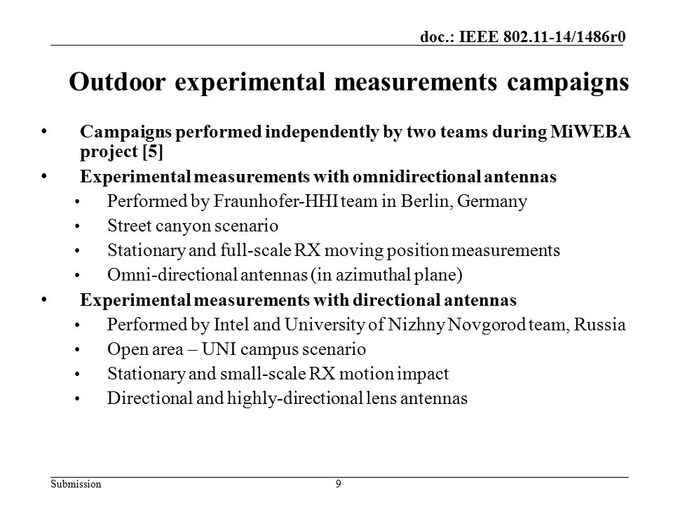 Outdoor experimental measurements campaigns