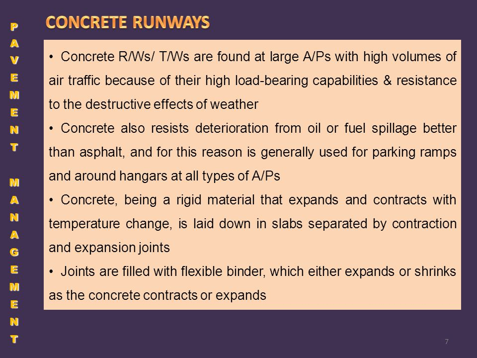 PAVEMENT MANAGEMENT CONCRETE RUNWAYS.