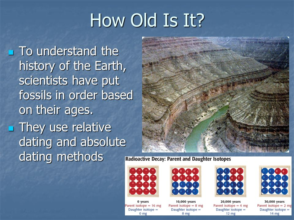 How Old Is It To understand the history of the Earth, scientists have put fossils in order based on their ages.