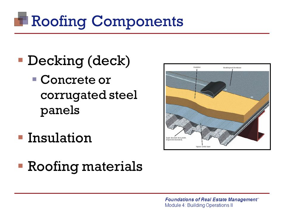 Foundations of real estate management ppt video online for Roof sheathing material options