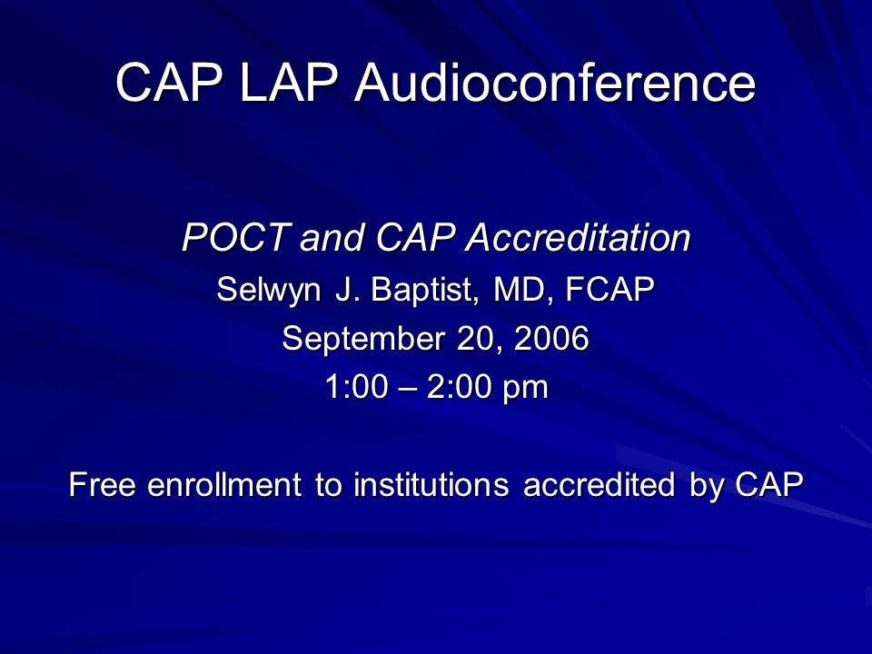 CAP LAP Audioconference
