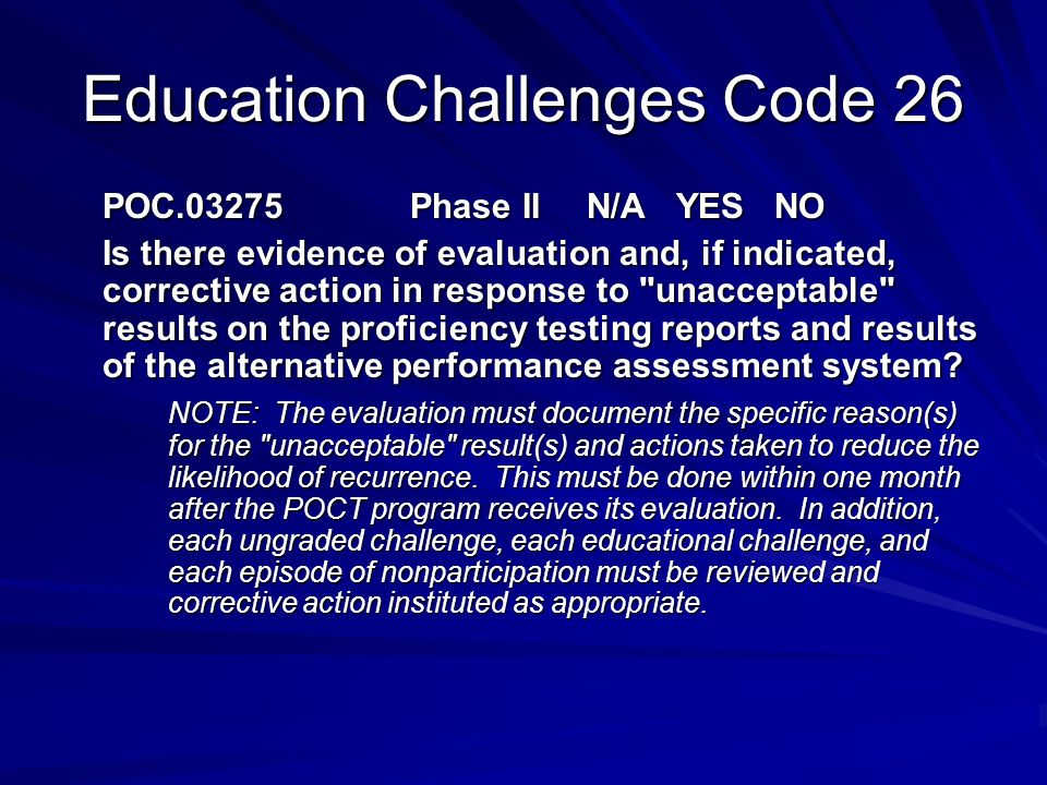 Education Challenges Code 26
