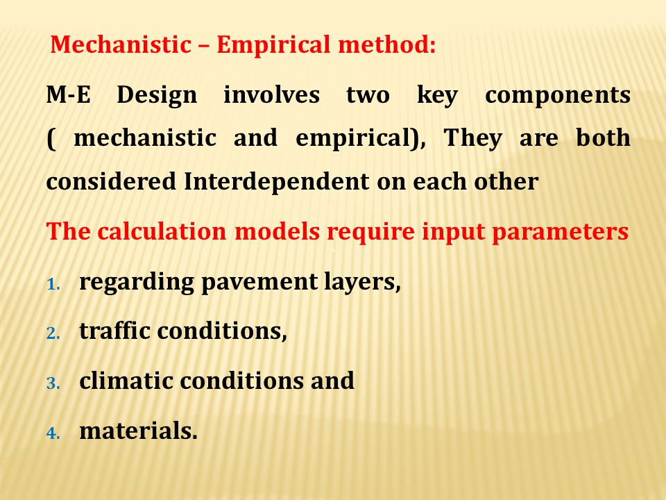 The calculation models require input parameters