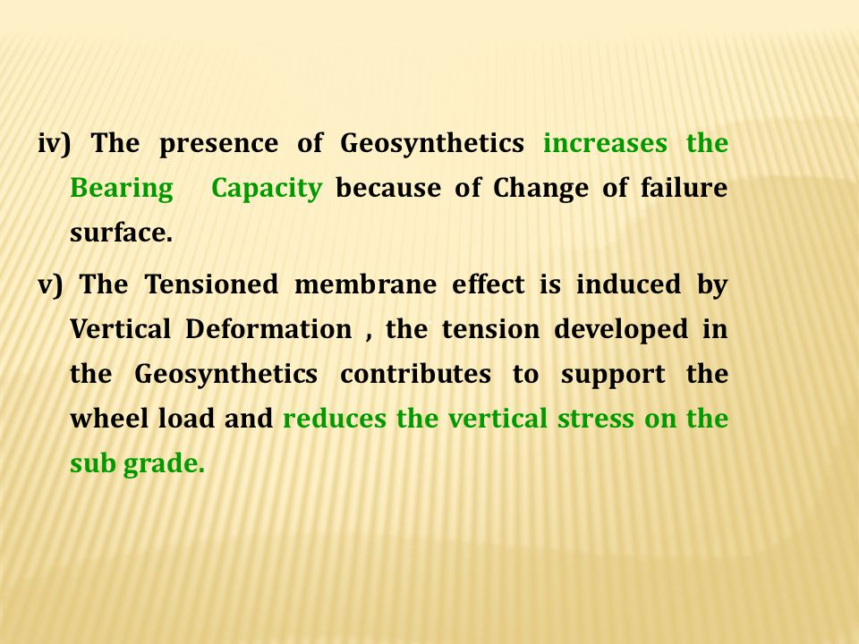 iv) The presence of Geosynthetics increases the Bearing Capacity because of Change of failure surface.