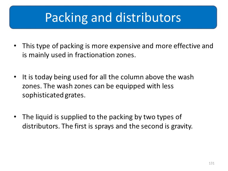 Packing and distributors