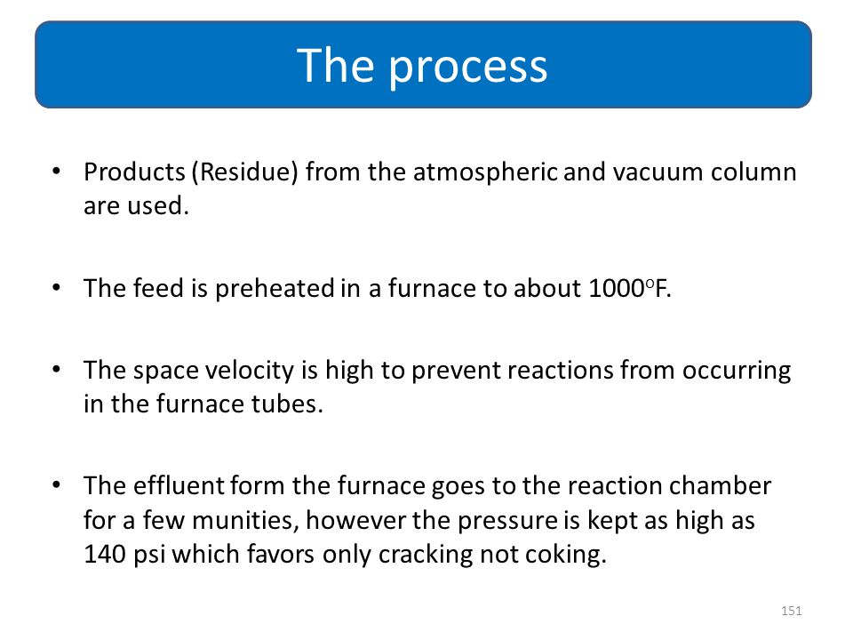 The process Products (Residue) from the atmospheric and vacuum column are used. The feed is preheated in a furnace to about 1000oF.