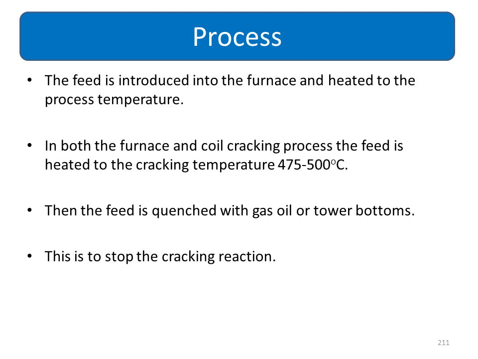 Process The feed is introduced into the furnace and heated to the process temperature.
