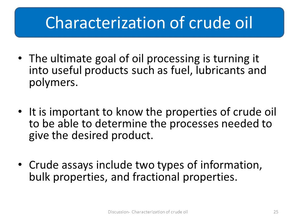 Characterization of crude oil