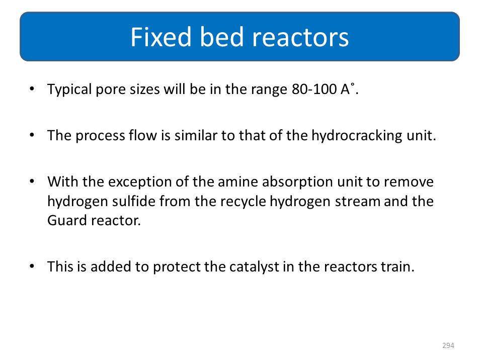 Fixed bed reactors Typical pore sizes will be in the range 80-100 A˚.