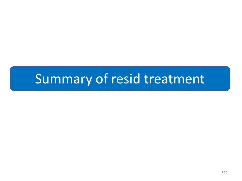 Summary of resid treatment