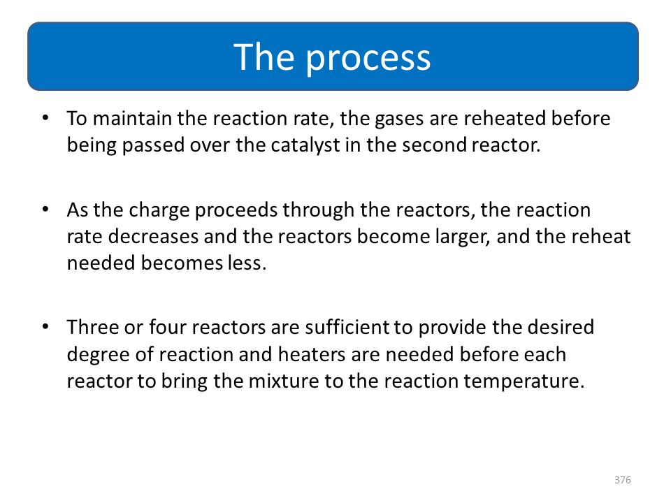 The process To maintain the reaction rate, the gases are reheated before being passed over the catalyst in the second reactor.