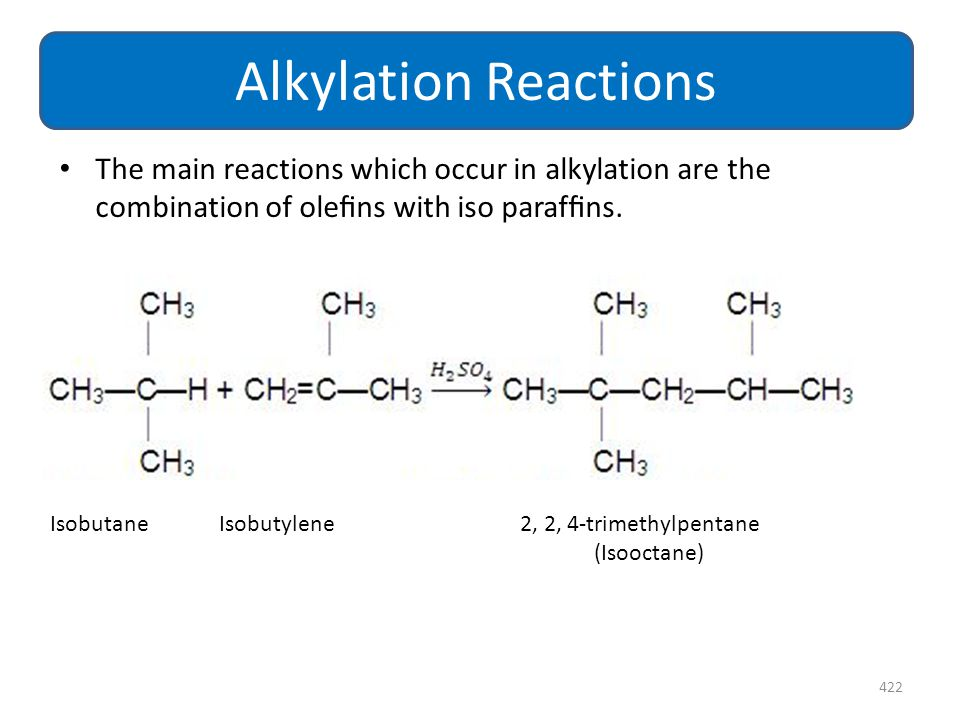 Alkylation Reactions The main reactions which occur in alkylation are the combination of olefins with iso paraffins.